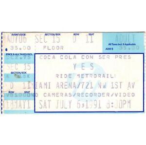 YES Concert Ticket Stub MIAMI FLORIDA 7/6/91 MIAMI ARENA THE UNION TOUR Rare