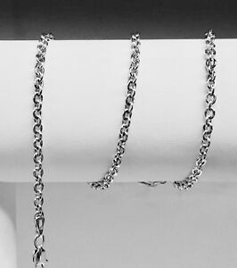 "14kt White Gold Cable Link Pendant Chain/Necklace 20"" 2 mm  2 grams"