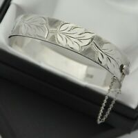1966 Vintage Solid 925 Silver 1/2 Engraved Leaf Design Hinged Bangle Bracelet