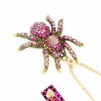 Women's Crystal Rhinestone Spider Pendant Sweater Chain Betsey Johnson Necklace