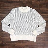 Banana Republic Large White Navy Polka Dot Print Knit Cotton Blend Sweater
