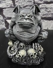 """Ossuary Winged Toad Troll Gargoyle Standing On A Bed Of Skulls Statue 6.25""""H"""