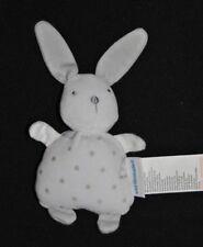 Peluche doudou lapin blanc VERTBAUDET VERT BAUDET étoiles gris argent 19 cm TTBE