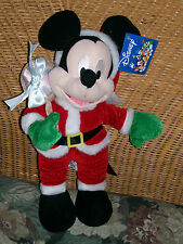 Disney Mickey Mouse In Santa Suit with Toy Sac Stuffed Plush The Toy Factory New