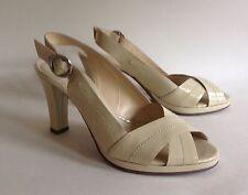"Jane Shilton Sandal Shoe Ivory Patent Leather Slingback 3.75"" Heel UK 5 EU 38"