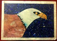 ANTIQUE MARBLE LAPUS LAZULI ONYX INLAY EAGLE STONE PAINTING MOSAIC UNIQUE ART