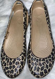 ladies size 7 leopard print crocs