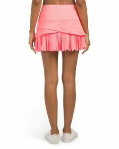 LUCKY IN LOVE Long Fringe Scallop tennis Skirt Lava pink sz XL  NEW