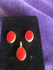 Red coral stone  Pendant And Earrings Set Handcrafted 925 Silver