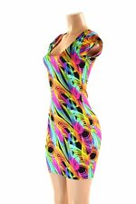 SMALL neon traffic Print Spandex Bodycon Cap Sleeve Dress Coquetry Clothing