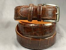 "Genuine Brown Alligator-Crocodile skin Waist 41-42 Belt Size 43-44 x 1.50"" wide"