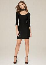 NWT Bebe Textured 3/4 Sleeve Scoopneck Black Bodycon Dress Size S
