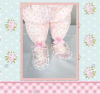 Vintage Tiny Rosette Infant Pajama Bottoms Adorable Lace Feet