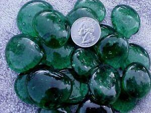 20  GREEN JUMBO GLASS GEMS, WAFER,  MOSIAC TILES  $9.99 POST PAID W7