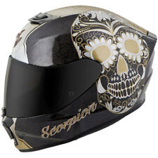 Scorpion EXO-R420 Full-Face Solid Helmet Black/Gold Sugar Skull Medium