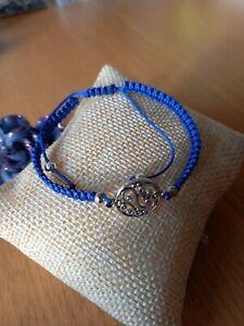 Adjustable blue friendship bracelet with silver charm ~ macrame knot cord