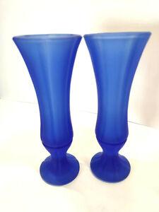 Vintage Bud Vases Blue Purple Satin Frosted Etched Sides Footed Art Deco MCM