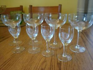 Set of 8 Vintage Etched Crystal Stemware Glasses Barware 4 are Labeled Hungary