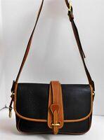Dooney Bourke Vintage Black British Brown Leather Shoulder Bag USA