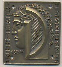 SACHSEN DRESDEN PLAKETTE 1.REICHS-THEATER-FESTWOCHE 1934 (A691)