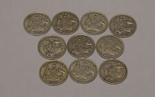 1936 Australian sixpence, 10 coins, reasonable circulated grades.