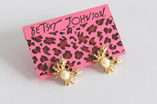 E276 Betsey Johnson Blue Crab w/ Diamond Eyes Summer Beach Scuba Earrings AU