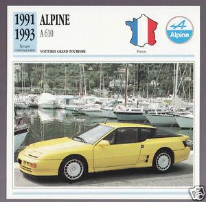1991 1992 1993 Alpine A 610 Yellow Sports Car Photo Spec Sheet French Atlas Card
