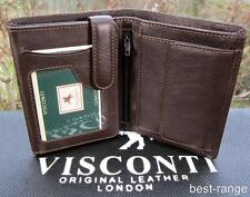 Mens RFID Wallet Soft Real Leather Brown Visconti New in Gift Box Quality HT11