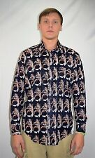 Vintage 70's Men's Acetate Disco Shirt by Branford - Veggie Print -  Size Large