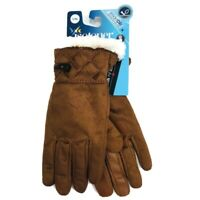 Isotoner Womens Sz L/XL Winter Gloves Brown Faux Suede Sherpa Lined Smart Touch