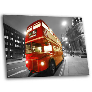 London Red Bus Black White Retro Large Modern Wall Art Canvas Picture Prints