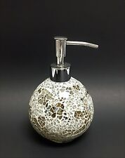 NEW WEST LAKE SILVER AND GOLD MIRROR GLASS MOSAIC SPHERE BATHROOM SOAP DISPENSER