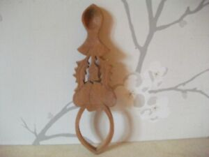 """HAND CARVED SCOTTISH WOODEN LOVE SPOON 8"""" LONG THISTLE AND HEARTS"""