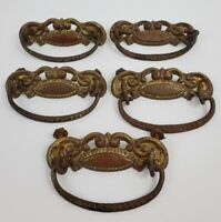 "Antique Brass Ornate Art Nouveau Victorian Lot of 5 Drawer Pulls 4"""
