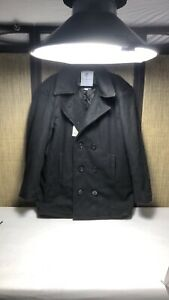 Rothco Black Wool Pea Coat Double Breasted Mens 48 XL RG Peacoat 088-15012