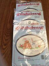 Lot Of 3 Stitchabears Cross Stitch Kits W/Frames Somebunny Loves 7635, 7688,7633