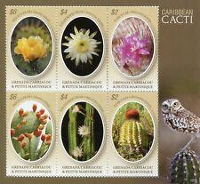 Grenadines Grenada 2019 MNH Caribbean Cacti 6v M/S Cactus Plants Nature Stamps