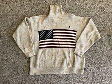 Ralph Lauren Polo M Beige USA American Flag Knit Sweater