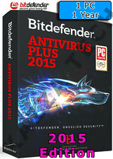 BITDEFENDER ANTIVIRUS PLUS 2015 - 1 PC USER - 1 YEAR - Activation License Key