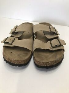 Airwalk Grey Leather Sandals With Cork Soles Size 8 Slip On Slides With Buckle