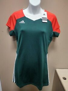 Adidas Volleyball Womens Short Sleeve Jersey Green/Orange Medium S98570 NWT