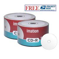 100 Pcs Imation CD-R CDR 52X 700MB 80Min White Inkjet Hub Printable Blank Disc