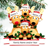 Reindeer Family Ornament Personalized Christmas Tree Ornaments Family of 3 4 5