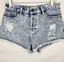 FOREVER 21 Denim Shorts Size 28 Acid Washed Ripped 4-Button Closure #455