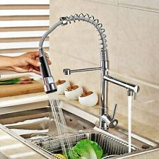 Kitchen Sink Faucet with Pull Down Sprayer Brushed Nickel Spring Mixer  Tap