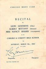 Leon GOOSSENS (Oboe): Signed Concert Program