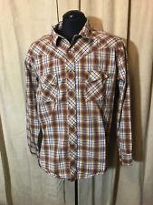 Mens Wrangler Western Shirt M 2XL Brown Plaids Long Sleeve cotton Rockabilly