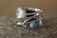 Navajo Indian Handmade Sterling Silver Turquoise Feather Ring, Adjustable!