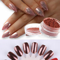 ROSE GOLD KIT MIRROR POWDER CHROME EFFECT NAILS SILVER PINK POWDER GEL POLISH
