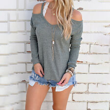 Women Off Shoulder Shirt Knitted Strap Top Long Sleeve Casual Party Loose Blouse